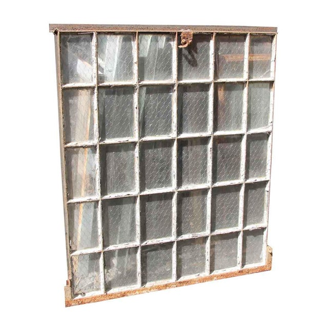 30 Pane Steel Frame Chicken Wire Glass Window For Sale - Image 4 of 5