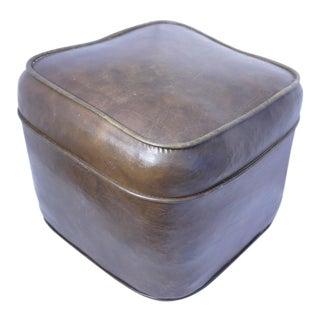 Vintage Naugahyde Footstool For Sale