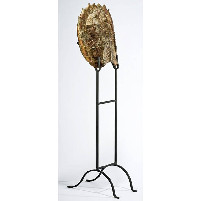 Decorative Faux Turtle Shell on Wrought Iron Stand - Image 2 of 8