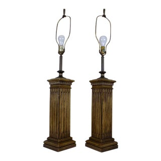 Vintage Knob Creek (Ethan Allen) Oak & Plaster Column Table Lamps - a Pair For Sale