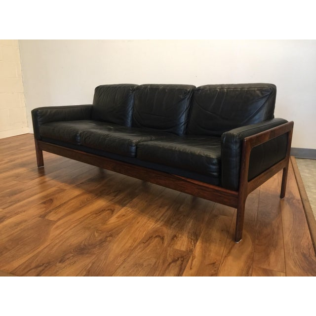 Komfort Mid Century Rosewood & Leather Sofa For Sale - Image 9 of 11