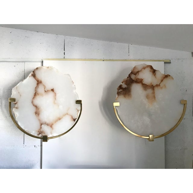 Contemporary Pair of Sconces Alabaster and Brass. Italy, 2017 For Sale - Image 10 of 13