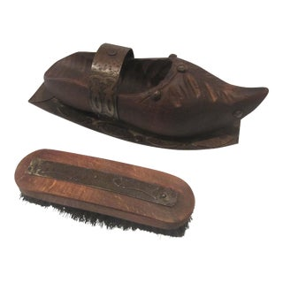 1900s Rustic Wooden Shoe Brush in Wrought Iron Holder - 2 Pieces For Sale