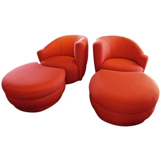 Vladimir Kagan for Weiman Nautilus Chairs With Large Ottomans - a Pair For Sale