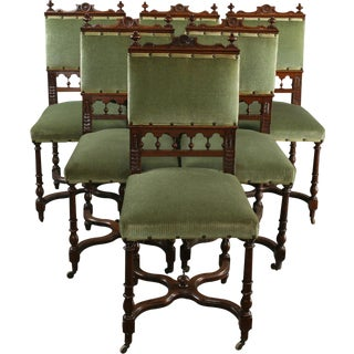 Antique Dining Chairs 1900 Flemish - Set of 6 For Sale