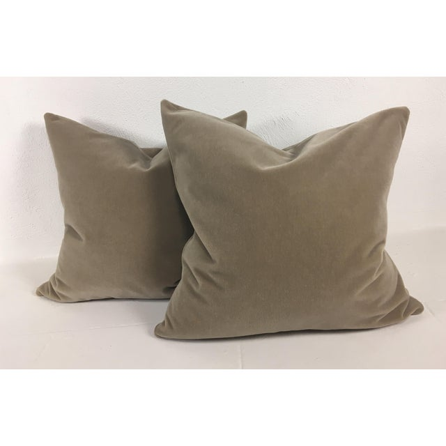 Contemporary Taupe Mohair Pillows - a Pair For Sale - Image 3 of 4