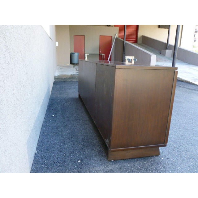 Danish Modern Mid-Century Danish Modern Walnut Credenza W Pyramid & Tambour Doors For Sale - Image 3 of 7