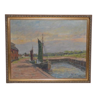 Dutch Landscape With Canal & Sailboat Painting C. 1920 For Sale