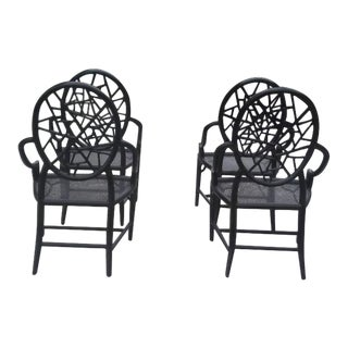 McGuire Furniture Cracked Ice Arm Chairs - Set of 4 For Sale