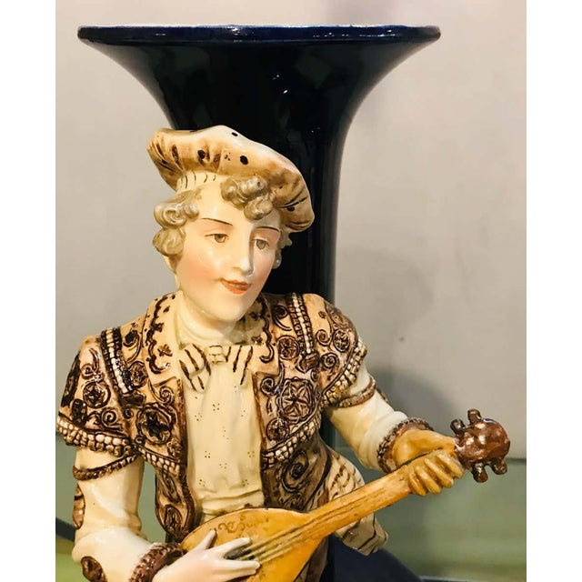 Two Large Porcelain French 19th-20th Century Figurative Vases or Male & Female For Sale - Image 9 of 13