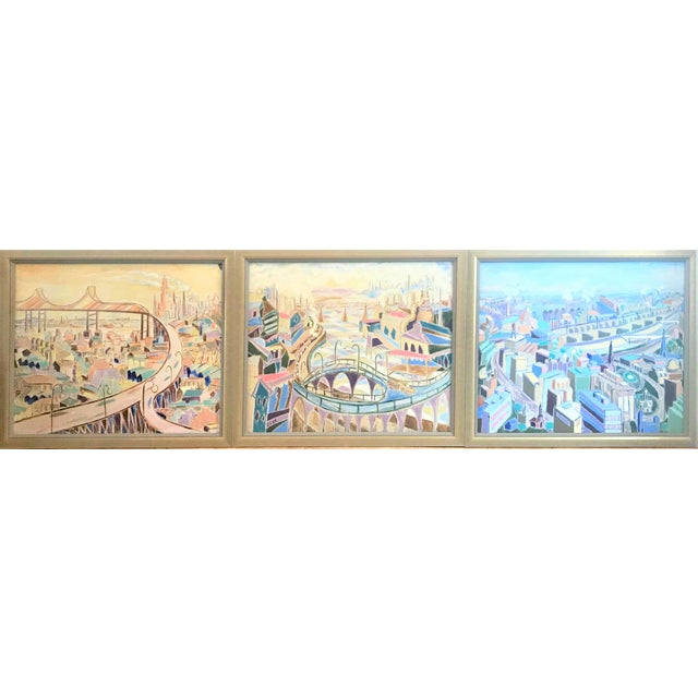 Vintage Mid-Century Modern Aerial Views Philadelphia Riverfront Neighborhoods Signed Framed Triptych Painting For Sale - Image 13 of 13