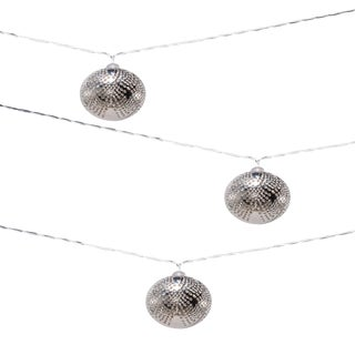 Marrakesh Metal Outdoor Solar Powered String Lights in Silver Droplet For Sale