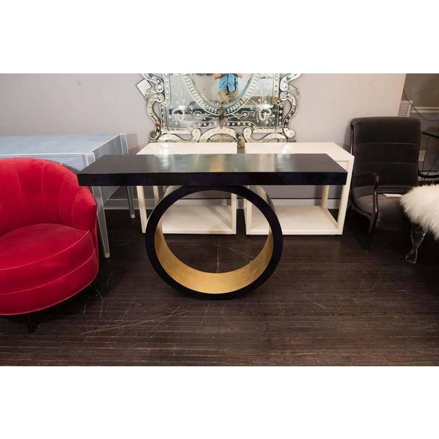 Custom Black Parchment Circle Console with Gold Leaf Interior For Sale In New York - Image 6 of 6