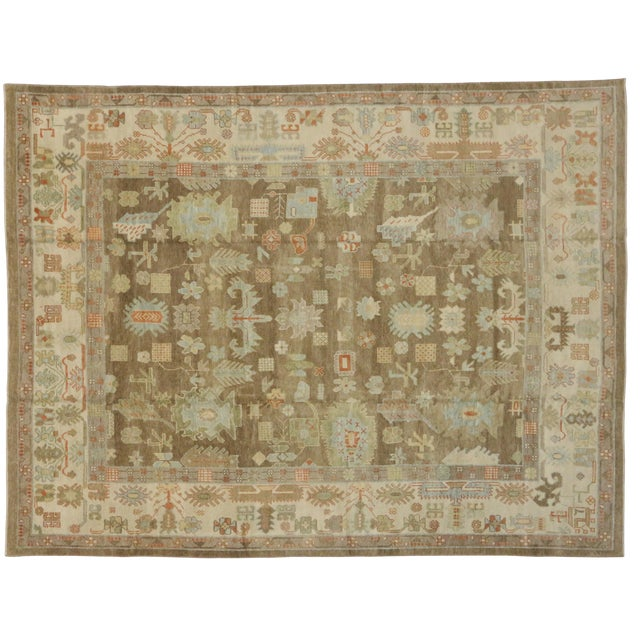 "Turkish Oushak Warm Colors and Pastel Hues Area Rug - 10' X 13'1"" For Sale"
