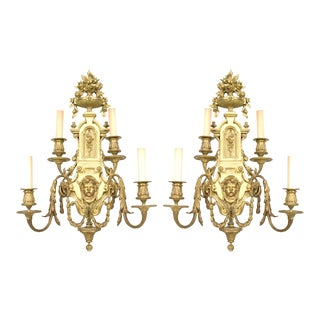 19th Century French Neoclassical Bronze Wall Sconces - a Pair For Sale