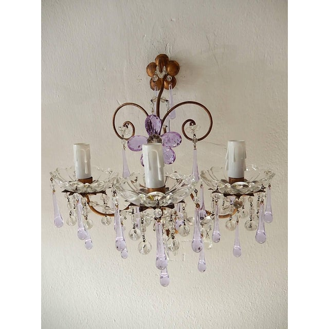 Crystal French Murano Drops Lavender Crystal Flowers Three-Light Sconces, circa 1920 For Sale - Image 7 of 10