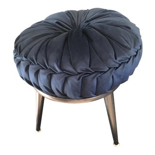 Mid-Century Silver Vanity Chair with Blue Pouf