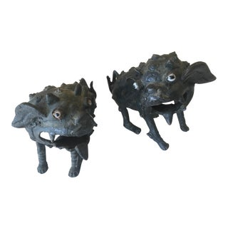 Early 20th Century Antique Bronze Foo Dog Sculptures - a Pair For Sale