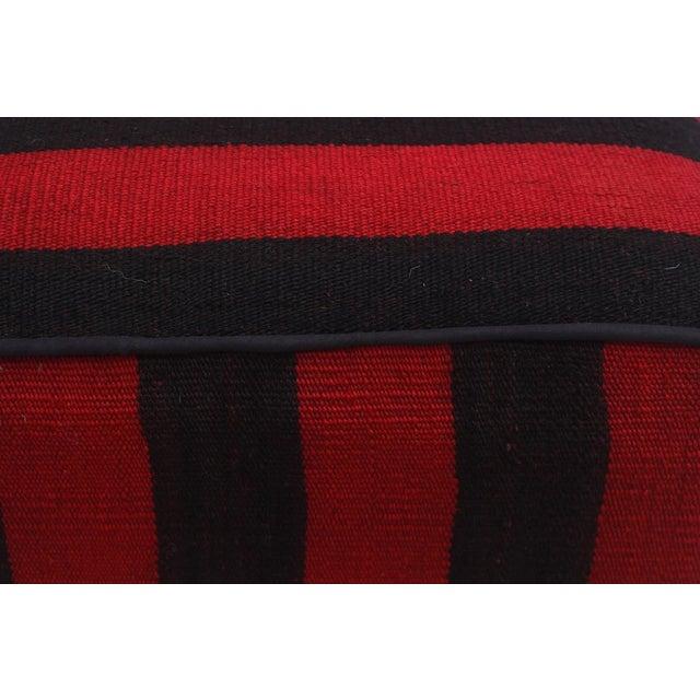 Arshs Domoniqu Red/Black Kilim Upholstered Handmade Ottoman For Sale In New York - Image 6 of 8