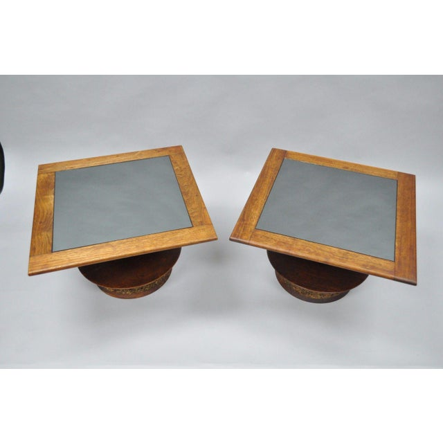Pair of Vintage Mid Century Modern Cork Sculpted Walnut Glass Square Low Side Tables For Sale - Image 4 of 11