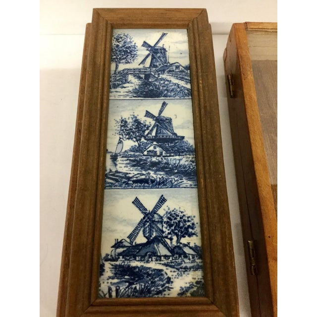 Boho Chic 1960 English Traditional Cigar Boxes With Delftware Tile & Glass -a Pair For Sale - Image 3 of 13