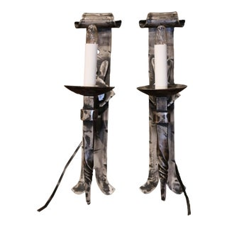 Pair of Early 20th Century Forged Polished Iron Wall Torchere Sconces For Sale
