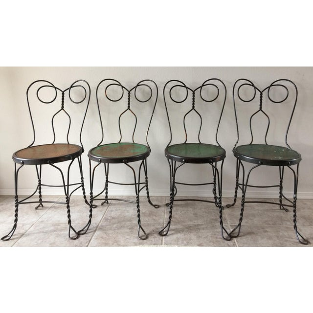 Vintage Bistro Ice Cream Parlor Chairs - Set of 4 For Sale - Image 11 of 11
