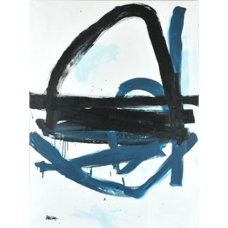 """Robbie Kemper """"Black and Blue Gray Loops"""" Abstract Expressionist Acrylic Painting For Sale"""