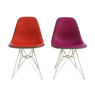 Pink & Orange Eames Chairs on Eiffel Bases - Pair
