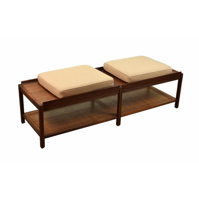 1960s Mid-Century Modern Coffee Table Bench Caned Shelf For Sale - Image 4 of 6