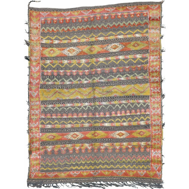 """Mid 20th Century Mid 20th Century Moroccan Berber Rug - 4'5"""" X 5'11"""" For Sale - Image 5 of 5"""