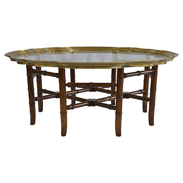 Brass Bamboo-Style Tray Coffee Table - Image 1 of 5
