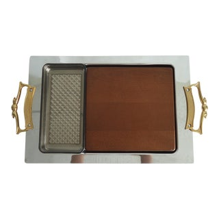 1960s Mid Century Modern Kromex Bar Serving Tray Cheese Board For Sale