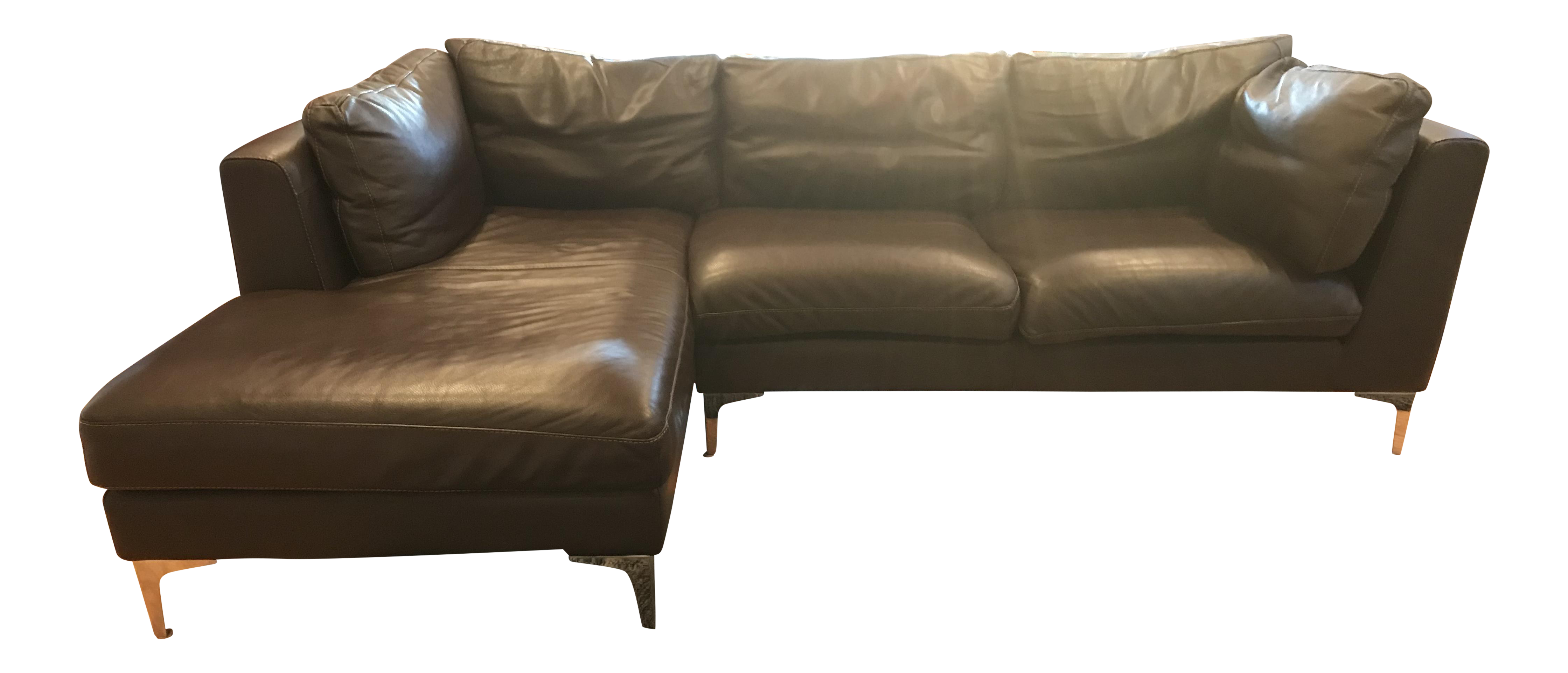 Design Within Reach Brown Leather Sectional   Image 1 Of 13