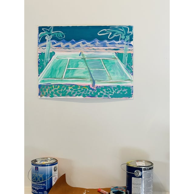 """""""Tennis Court in Waves"""" Contemporary Fauvist Style Sport Painting by Sally King Benedict For Sale - Image 4 of 5"""
