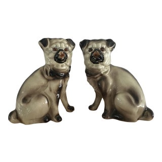 Vintage Pug Staffordshire Style Dog Figurines - a Pair For Sale
