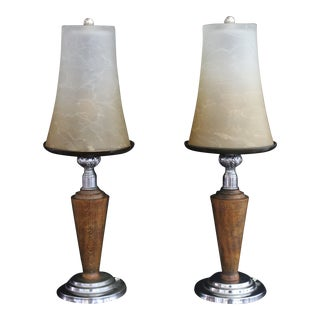 1930s Art Deco Table Lamps With Shades - a Pair For Sale