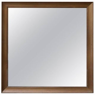 Monumental Square Gold Finish Wall Mirror by James Mont For Sale