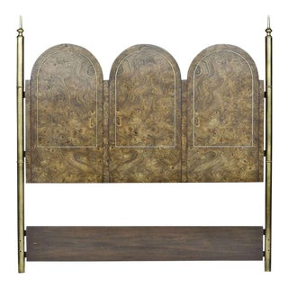 1970s Vintage Mastercraft Burled Amboyna and Brass Headboard For Sale