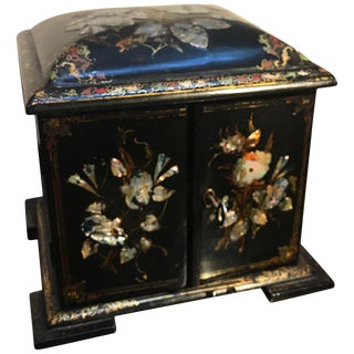 Mid 19th Century Antique English Inlaid Papier-Mâché Jewelry Box For Sale