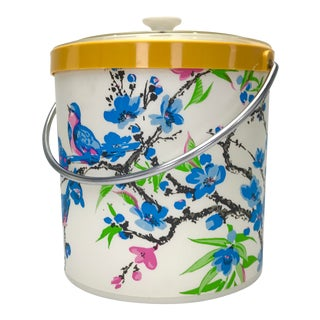 Vintage Chinoiserie Chic Palm Beach Style Ice Bucket For Sale