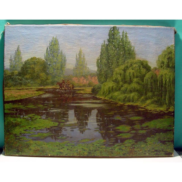 California Horsemen Oil on Canvas For Sale - Image 4 of 5