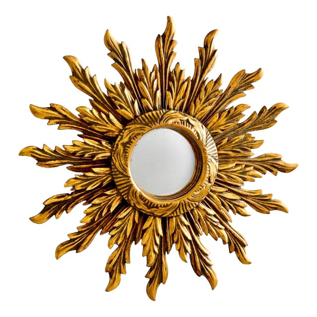 Double Layer Giltwood Sunburst Mirror For Sale