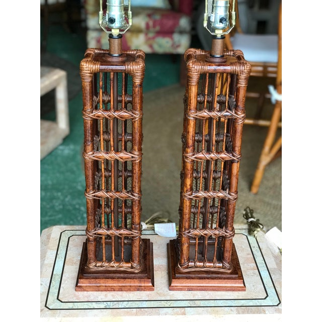 Boho Chic Island Style Coastal Regency Rattan Lamps-A Pair For Sale - Image 3 of 9
