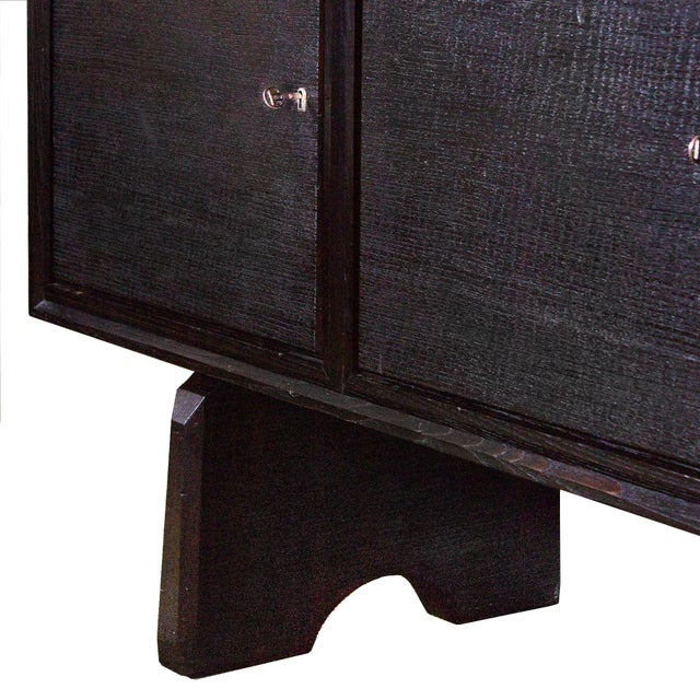 Black 1940s Sideboard by Paolo Buffa, Ebonized Oak, Japanese Style - Italy For Sale - Image 8 of 9