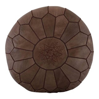Embroidered Leather Pouf, Brown on Brown For Sale