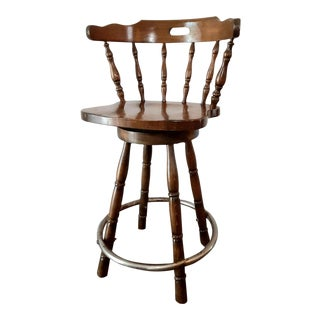 Mid Century Vintage Wood Colonial Style Swivel Bar Stool For Sale