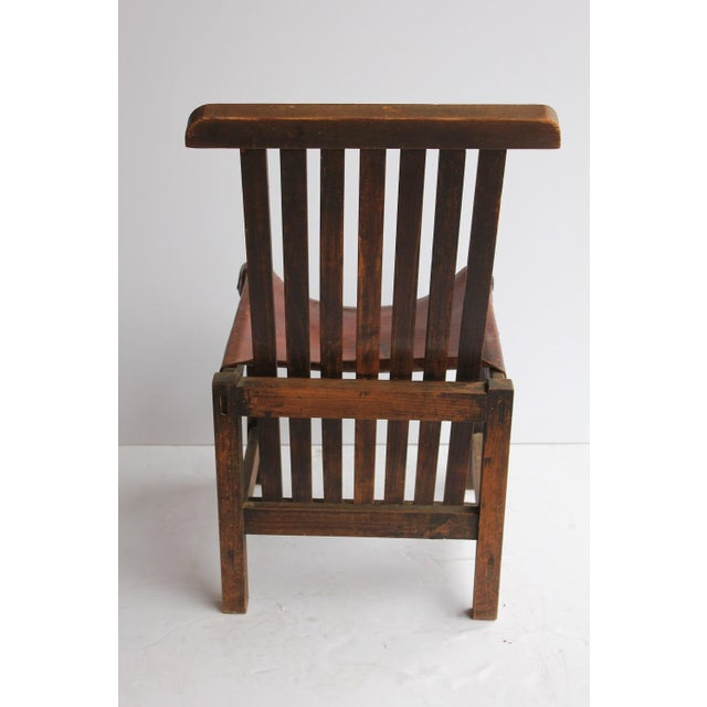 Antique Leather and Oak Accent Chair - Image 5 of 5