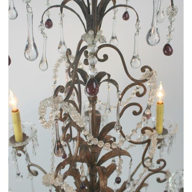 Antique Italian Gold Leaf Crystal Chandelier - Image 9 of 10