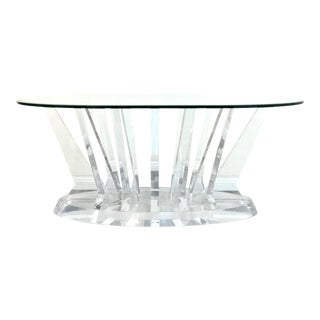 1970s Mid Century Modern Lucite Glass Dining Table For Sale